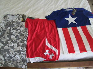 NEW Mens UNDER ARMOUR 3Pc WORKOUT Outfit CaptAMERICA+CAMO+Red short 2x FREE SHIP