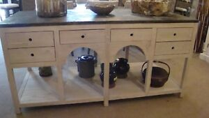 Farmhouse White Large Kitchen Island Arched Design with a Stone Top  J