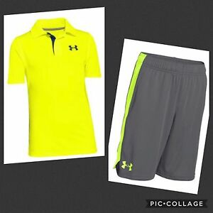 NWT Boy's Under Armour Eliminator Shorts And Polo Shirt Set YLG Gray Volt Large