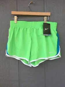 Nike Dry Fit Running Shorts Sports Athletic Size XL Girl's Green Blue
