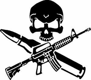 Rifle Skull Bullet Gun Control Car Truck Window Laptop Vinyl Decal Sticker