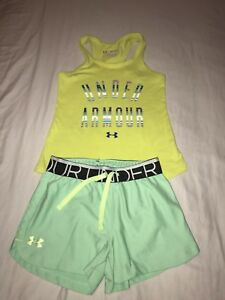 Under Armour Girls Outfit XS  S Green Tank Top & Mint Green Athletic Shorts