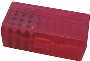 NEW MTM 50 Round Flip-Top 380/9MM Cal Ammo Box - Clear Red