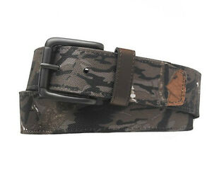 New Men#x27;s Camouflage Gray Bonded Leather Belt Gunmental Buckle Size M L