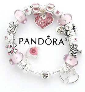 Authentic Pandora Bracelet Silver with Pink Wife Mom European Charms Christmas