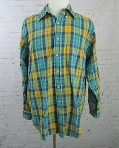 Brooks Brothers Sport Shirt Madras Plaid Button Up Blue Green Yellow Large