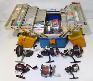Vintage Fishing Tackle Box - Lures 6 Reels Bell System Lineman Tool Box AT8965