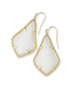 Kendra Scott Alex Dangle Earrings in White Pearl and Gold Plated