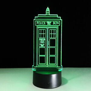 ColorNight Light Acrylic Touch Switch England Police Box Telephone Booth Toy Hot