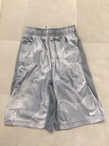 Nike Dry Fit Boys Gray White Athletic Shorts Size L Large