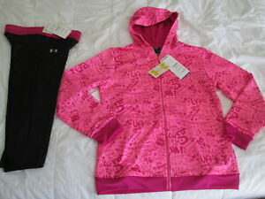 NEW Girls 2 pc UNDER ARMOUR Outfit Hoodie+CAPRI BlkPink YLG 14-16 FREE SHIP!