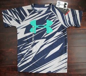 Under Armour Heat Gear Boys Blue  Gray Short Sleeve Dry Fit Shirt XS - NWT