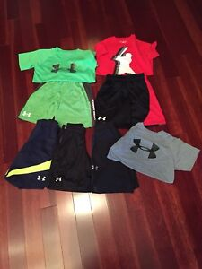 Under Armour Lot Shorts And Shirts Boys Youth Small