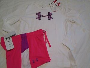 NEW Girls UNDER ARMOUR 2pc OUTFIT Pink Shorts+White Ls w Big UA logo FREE SHIP