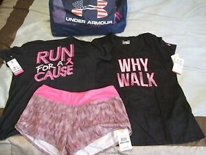 NEW Womens UNDER ARMOUR 3Pc RUNNING Outfit 2Graphic Tops + Shorts Lg FREE SHIP!