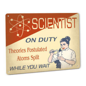 Scientist On Duty Sign Female Science Laboratory Theory Fun Exam Prep Lab Decor