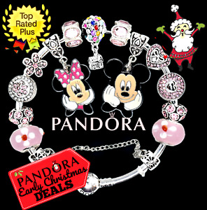 Authentic PANDORA Bracelet Silver with Pink MICKEY & MINNIE European Charms New