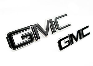 2 NEW CUSTOM 15-19 GMC YUKON XL DENALI CHROME & BLACK GRILL & LIFT GATE EMBLEMS