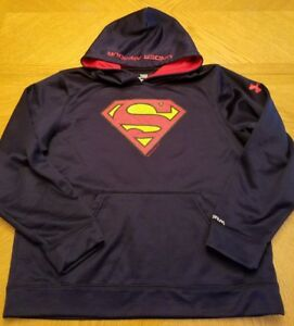 Under Armour Boys Fleece Storm Superman Loose Fit Hoodie Youth Large YLG EUC