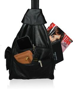 GENUINE LEATHER BACKPACK WOMEN HANDBAG 4 COMPARTMENTS BLACK BROWN HOT