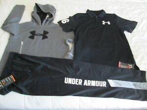 NEW Boys UNDER ARMOUR 3Pc Outfit Gray Hoodie+Pants+Polo Yxl 18-20 FREE SHIP