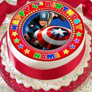 CAPTAIN AMERICA PERSONALISED BIRTHDAY 7.5 INCH PRECUT EDIBLE CAKE TOPPER A391K