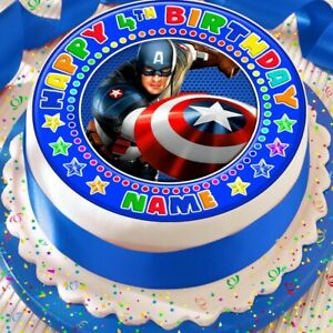 CAPTAIN AMERICA PERSONALISED BIRTHDAY 7.5 INCH PRECUT EDIBLE CAKE TOPPER A392K