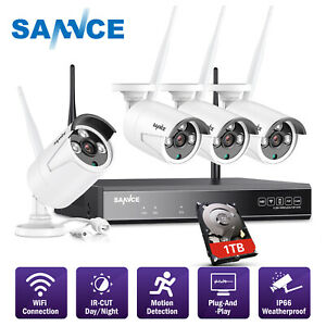 SANNCE Wireless 4CH 1080P NVR 4x CCTV In Outdoor Security Camera System NO1TB