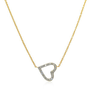14K White And Yellow Gold Diamond Floating Heart Necklace