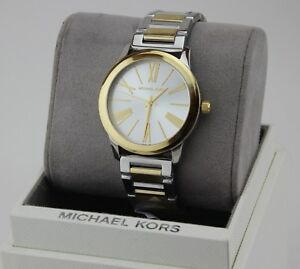 NEW AUTHENTIC MICHAEL KORS HARTMAN SILVER GOLD BRACELET WOMEN'S MK3521 WATCH