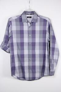 Alfani Shirt Roll Tab Sleeves SS LS Purple Checkered S Small No Pockets New Blem