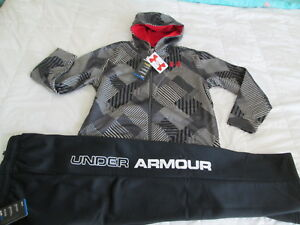 NEW Boys UNDER ARMOUR 2Pc Outfit BlkGray Hoodie+Pants COLDGEAR YLG FREE SHIP!