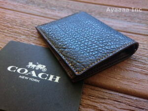 NWT Men's COACH SLIM Bifold Buffalo Embossed Leather Wallet Black F11989