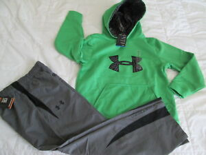 NEW Boys UNDER ARMOUR 2Pc Outfit Green Hoodie COLDGEAR+Pants YMD FREE SHIP!