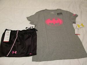 NEW Girls UNDER ARMOUR 2pc OUTFIT BlkPink Shorts+GrayPink Batman Ylg FREE SHIP