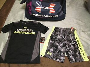 NEW Boys Under Armour 2Pc BlkNeonGray OUTFIT Tee + Shorts Size 6 FREE SHIP!