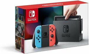 Nintendo Switch Console with Neon Blue and Red Joy-Con Controllers