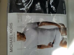Michael Kors 3 Pack Black Crew Neck T-Shirts 100% Cotton Size L 42-44'' $39.50