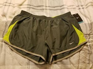 Nike Womens 5K Running Training Shorts Lime green & gray Size L 573728 065 NWT