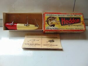 Vintage Wood Heddon Lucky 13  Fishing Lure Gold Eyes with Correct Box Paperwork
