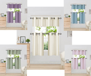 3pc SET KITCHEN GROMMET WINDOW CURTAIN DRESSING WITH 2 TIER & VALANCE  K9 36
