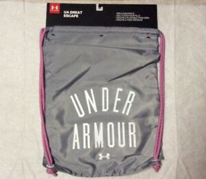 Under Armour Gray Pink Draw String Sackpack Girls Great Escape Sacks NWT $19.99