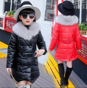 Kids Children Girls PU Leather Fur Collar Thicken Cotton Down Coat Jacket Parkas