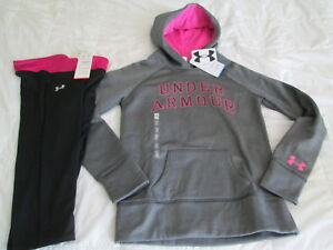 NEW Girls 2 pc UNDER ARMOUR Outfit Capri+Hoodie GrayPink YLG 14-16 FREE SHIP!