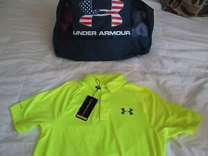 NEW Under Armour Mens Golf Short-Sleeve Coldblack Polo SOLAR Yellow Sm FREE SHIP