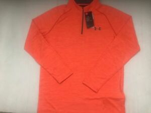 NEW UNDER ARMOUR MEN'S LS LOOSE HEAT GEAR PULL OVERTOP TWISTED ORNG  MXL  NWT