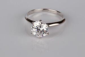 1.5 CT SI1F ROUND CUT DIAMOND SOLITAIRE ENGAGEMENT RING 14K WHITE GOLD