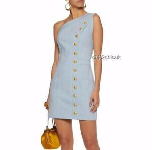 Balmain Gold Button Denim DRESS Fr38 UK10 New Auth Great Gift