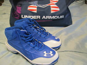 BRAND NEW MENS UNDER ARMOUR HEATER MID TPU BLUWHT 14 BASEBALL CLEATS FREE SHIP