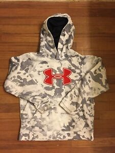 Under Armour Camo Hoodie Pullover Red White Grey Youth Boys Loose Size Large